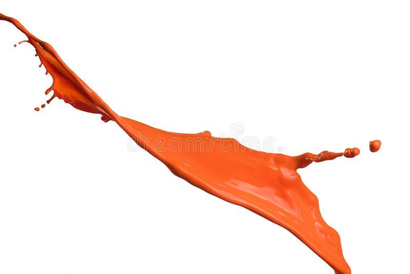 Orange målarfärgfärgstänk fotografering för bildbyråer