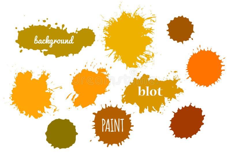 Orange målarfärgfärgstänk för samling Vektoruppsättning av borsteslaglängder royaltyfri illustrationer