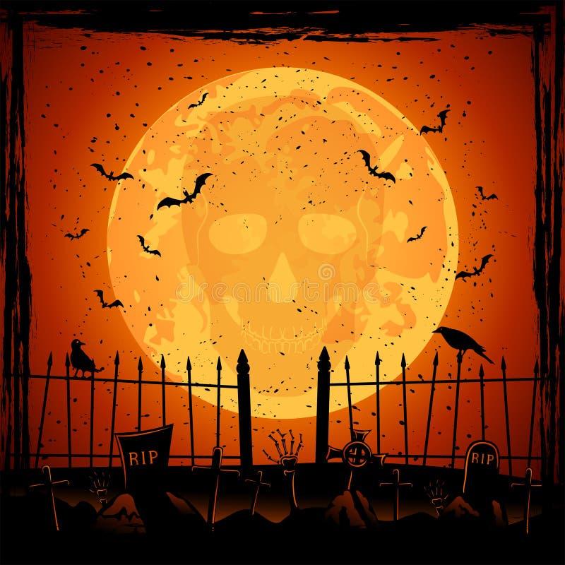 Orange måne med skallen stock illustrationer