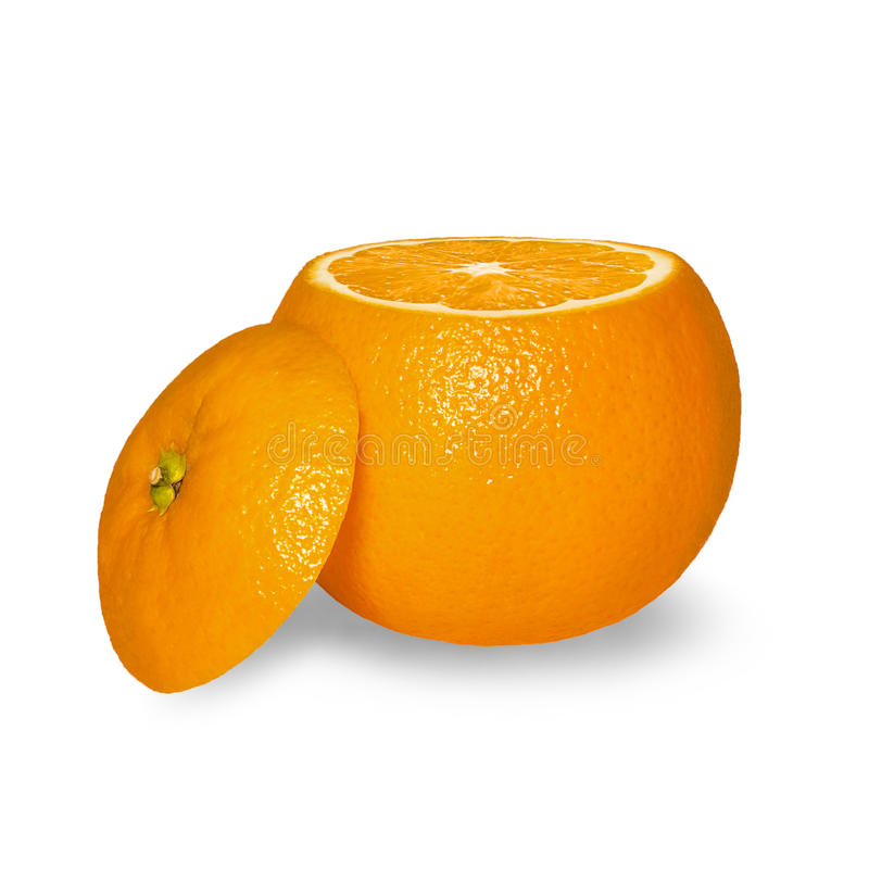 Orange mûre de coupe d'isolement sur le fond blanc image libre de droits