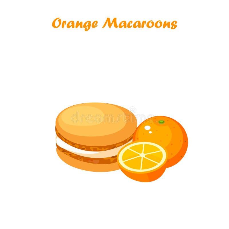 Orange macaroons cookie vector illustration