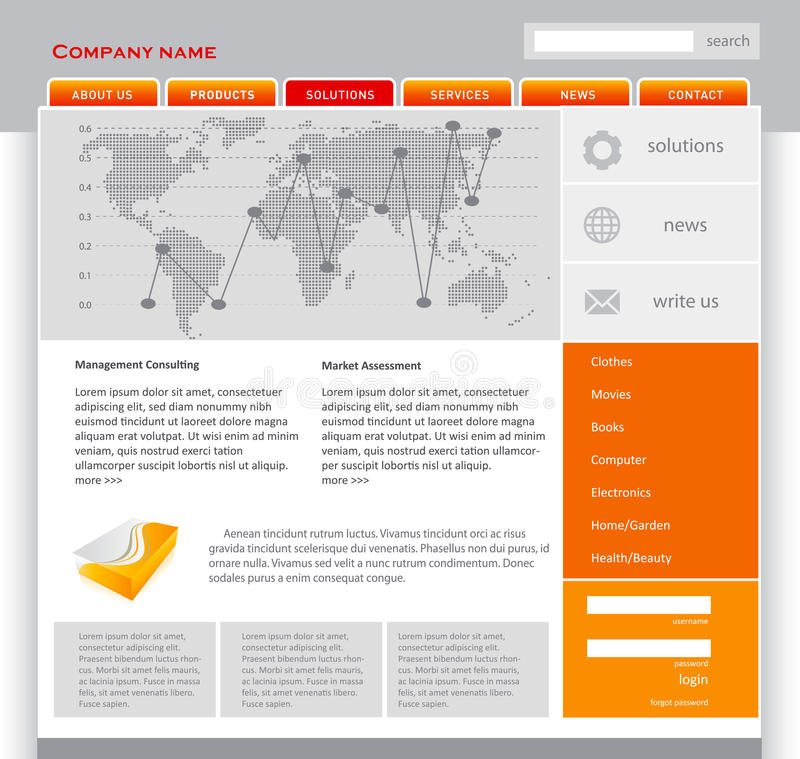 orange mallwebpage royaltyfri illustrationer