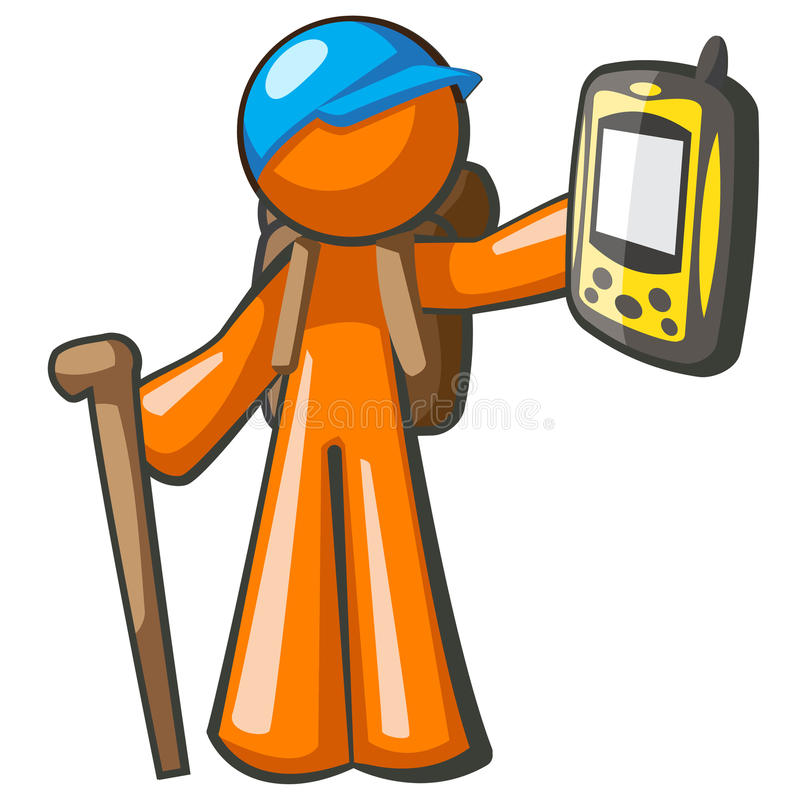 Orange Man Backpacker With GPS Stock Photography