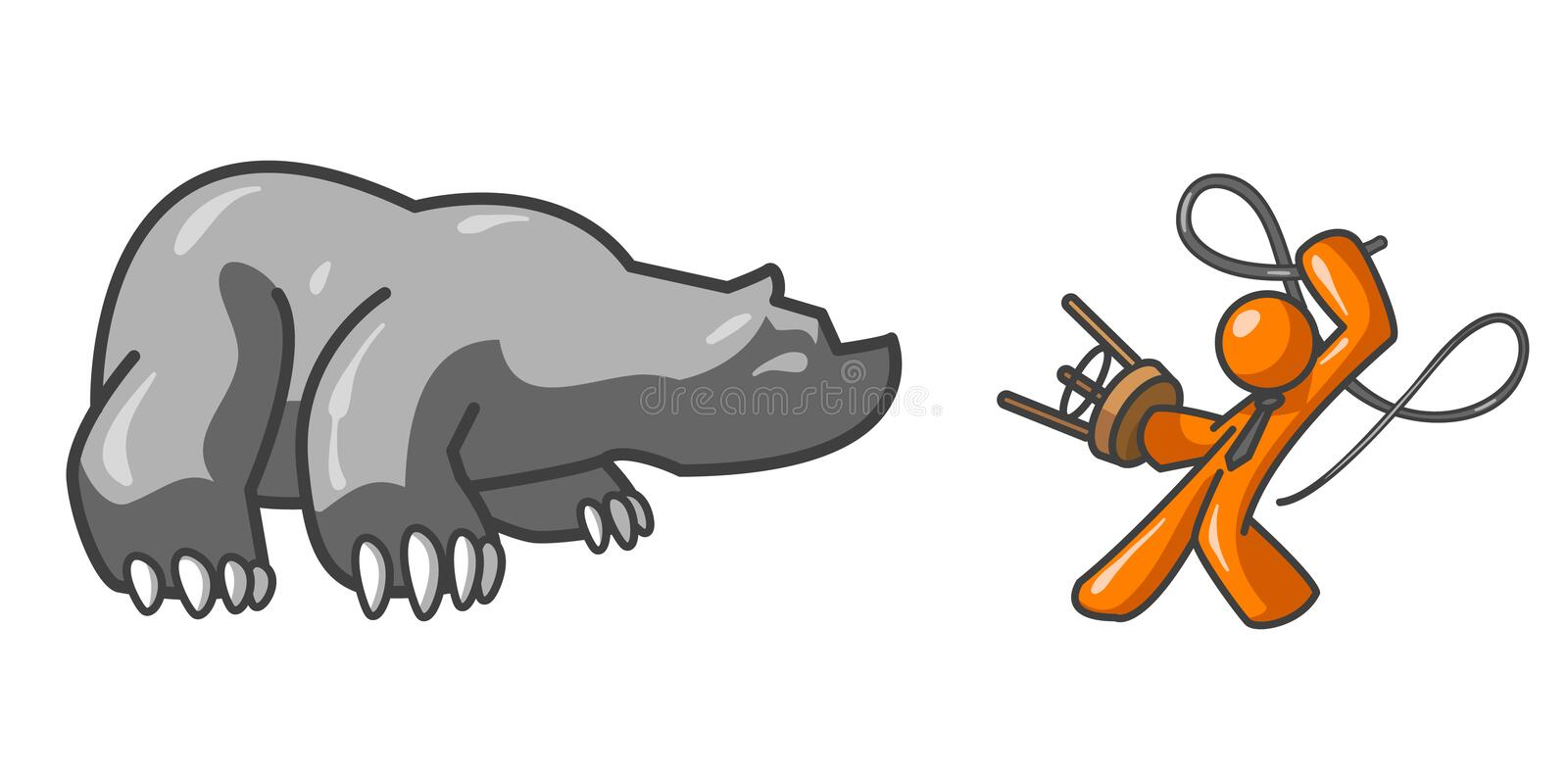 Download Orange man and bear stock vector. Illustration of conflict - 4142252