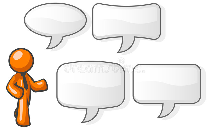 Orange man and speech bubbles