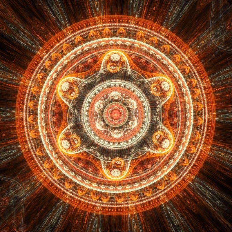 Orange mandala royaltyfri illustrationer