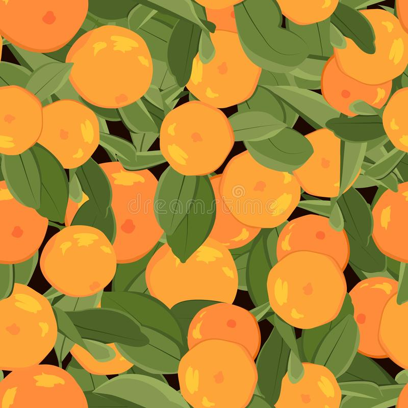 Orange mandarin tangerine with green leaves on black background. Seamless pattern. Juicy exotic citrus fruit harvest. stock illustration