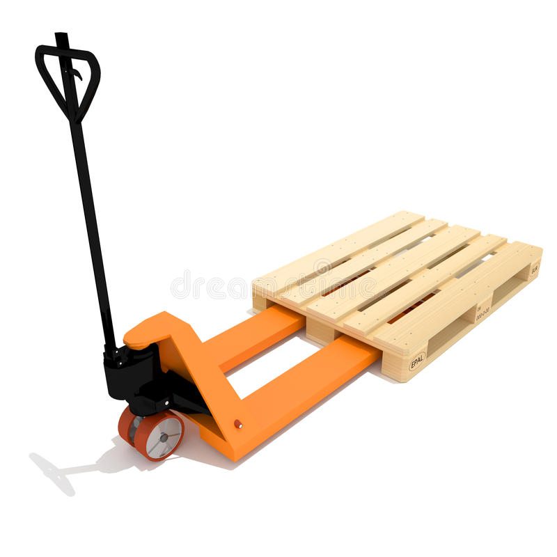 Orange manual hand hydraulic pallet truck vector illustration