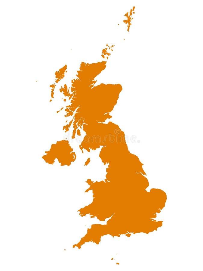 Orange Map of European Country of United Kingdom. Vector Illustration of the Orange Map of European Country of United Kingdom vector illustration