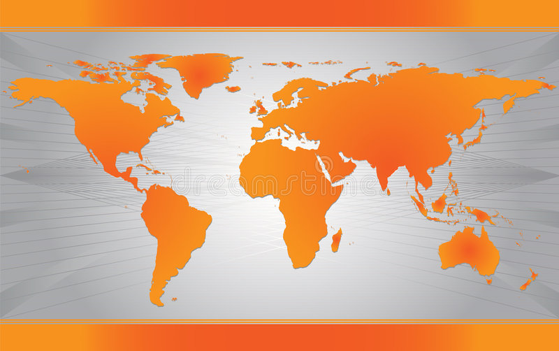 Orange Map of the world stock illustration