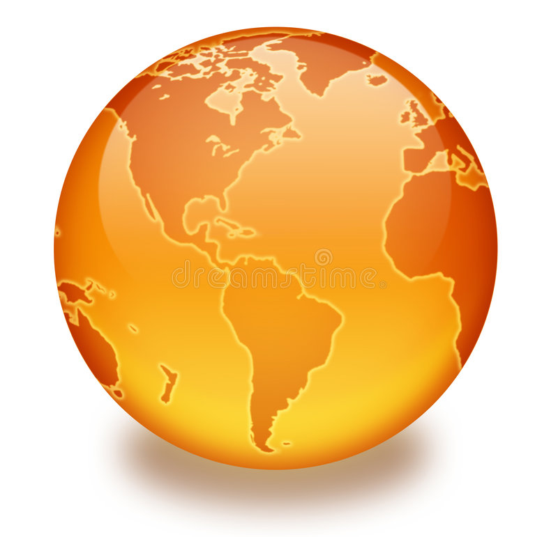 Orange Marble Globe. Shiny orange globe created in Photoshop with outer glow around the continents. Created mostly with gradients and layer styles. White stock illustration