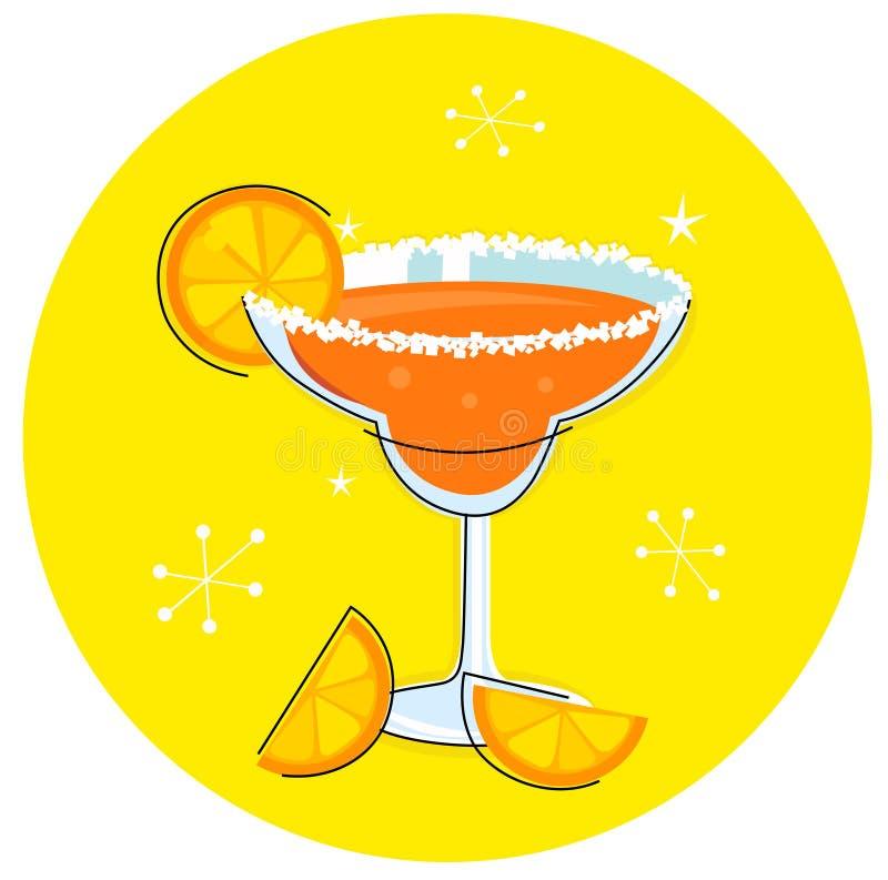 Orange Margarita: Retro cocktail icon. Fresh Margarita drink with Orange Slices. Stylized Illustration in retro style royalty free illustration