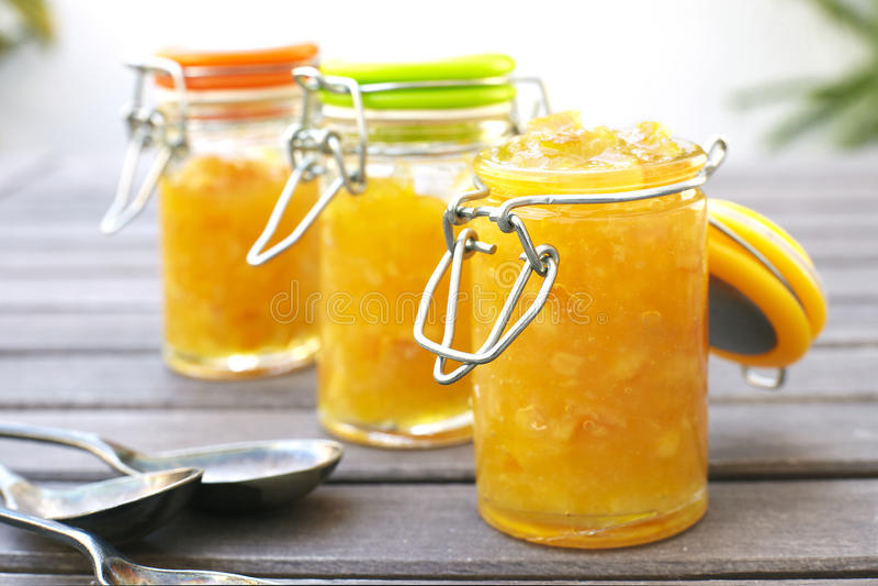 Orange marmalade. Healthy breakfast with orange marmalade royalty free stock images