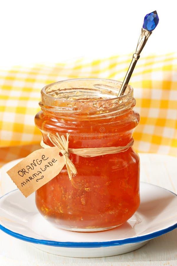 Orange marmalade. Homemade orange marmalade in a jar stock photo