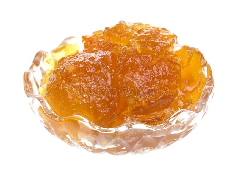 Orange marmalade i liten maträtt royaltyfri fotografi