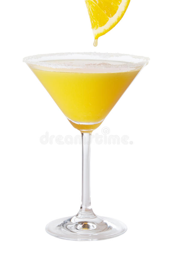 Orange Martini With Fresh Orange Juice Drop stock image