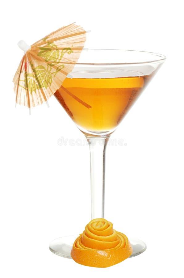 Orange martini with peel. Isolated orange martini with peel on white background royalty free stock photo