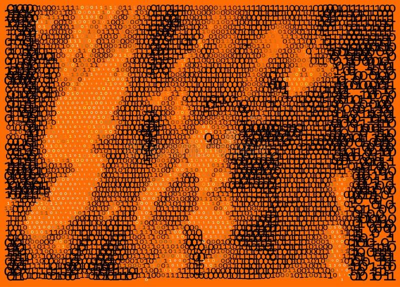 Orange Matrix. Eine und null stock abbildung