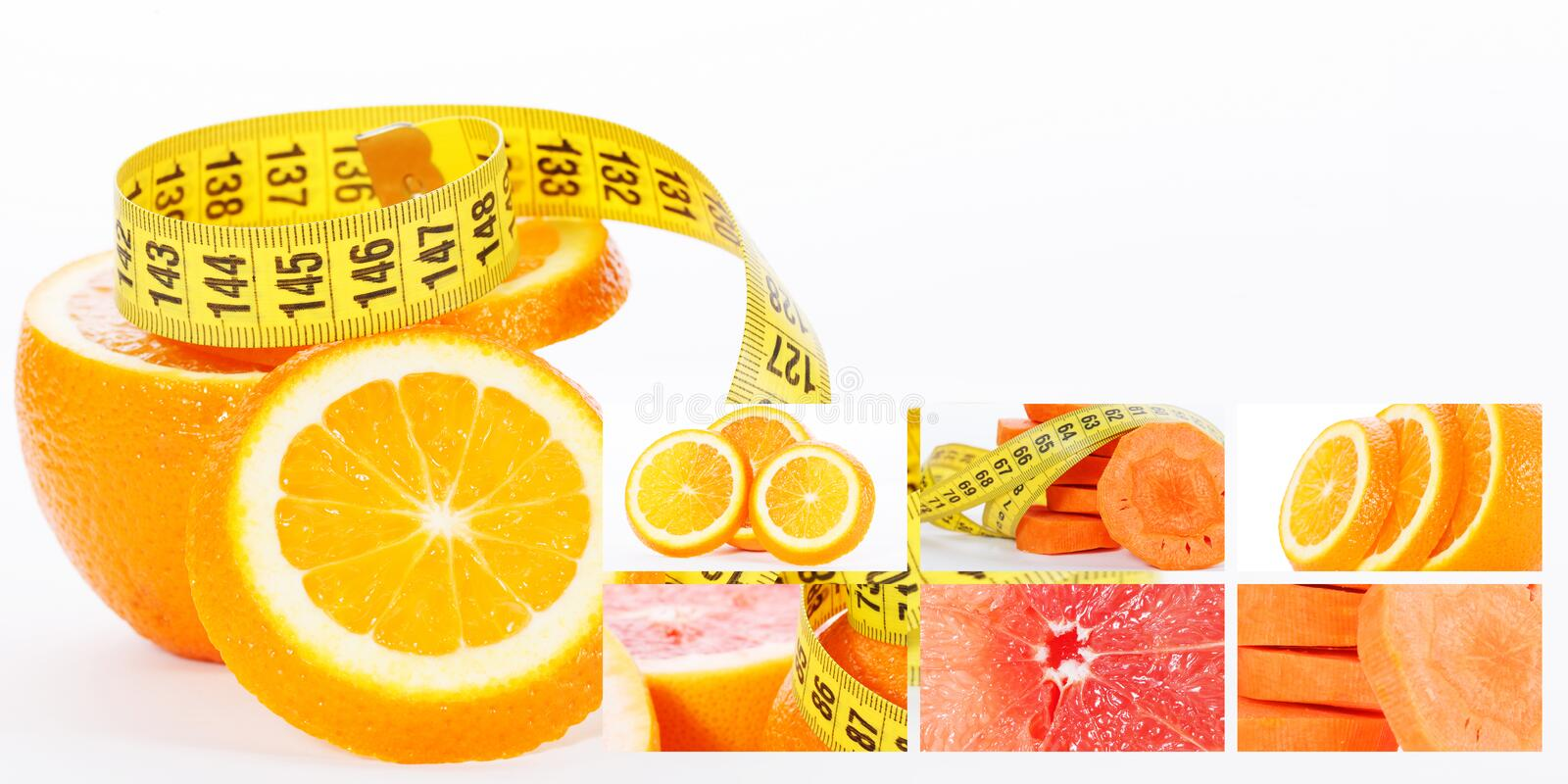 Orange with measuring tape. Health concept with carrot grapefruit and slices of oranges stock image
