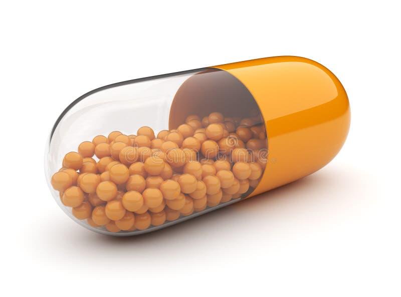 Orange medicinsk pill 3D. Vitaminer. Isolerat royaltyfri illustrationer