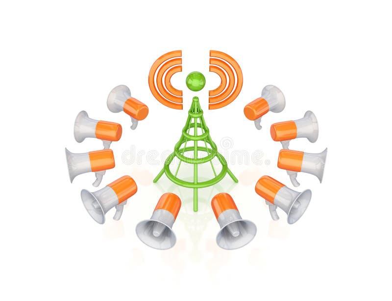 Orange Megaphone Um Grünes Antennensymbol. Stockfoto - Bild von ...
