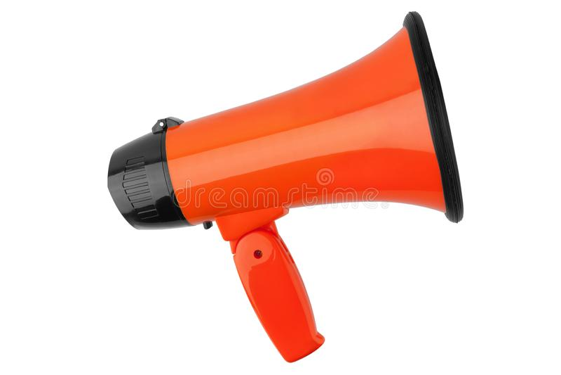 Orange megaphone on white background isolated close up, hand loudspeaker design, loud-hailer or speaking trumpet. Announcement symbol, speaker voice volume royalty free stock photo