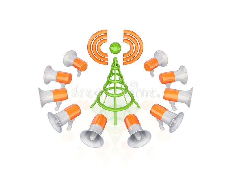 Orange megaphones around green antenna symbol. Isolated on white background.3d rendered royalty free stock photos