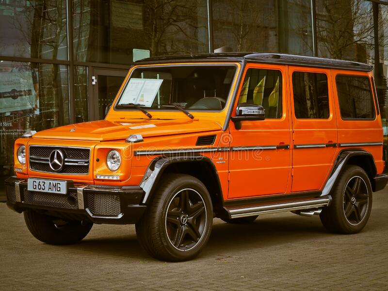 Orange Mercedes Benz G63 royalty free stock image