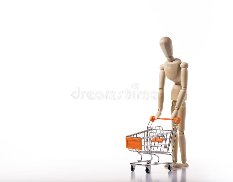Orange metal shopping cart. royalty free stock images