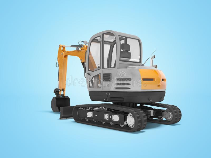 Orange mini excavator with hydraulic crawler mehlopatoy with bucket rear view 3d render on blue background with shadow. Orange mini excavator with hydraulic royalty free illustration