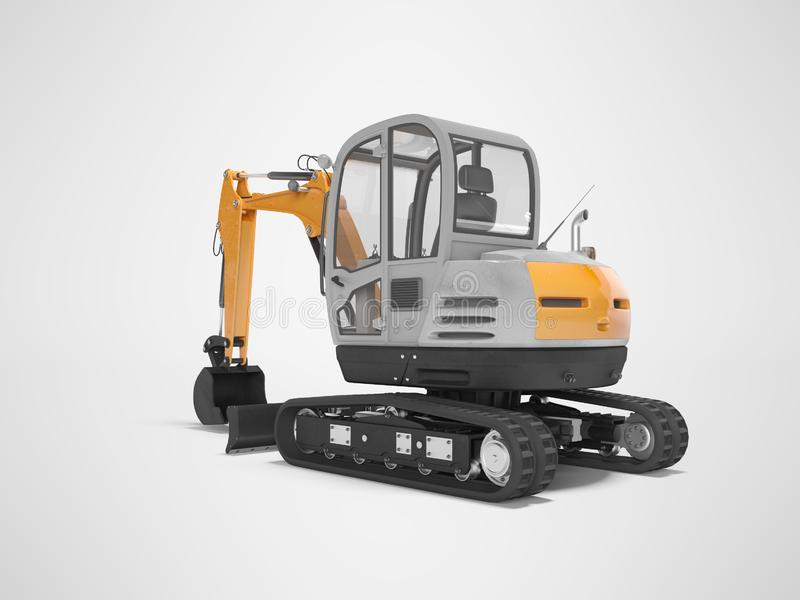 Orange mini excavator with hydraulic crawler mehlopatoy with bucket rear view 3d render on gray background with shadow. Orange mini excavator with hydraulic royalty free illustration