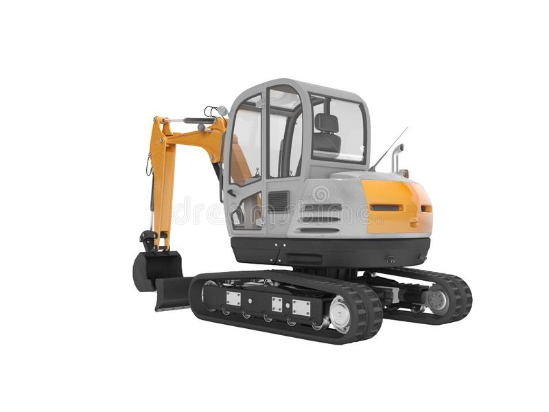 Orange mini excavator with hydraulic crawler mehlopatoy with bucket rear view 3d render on white background no shadow. Orange mini excavator with hydraulic vector illustration