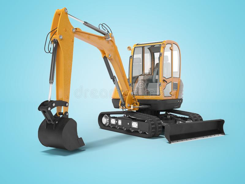 Orange mini excavator with hydraulic mechlopata with leveling bucket in motion 3d render on blue background with shadow. Orange mini excavator with hydraulic vector illustration