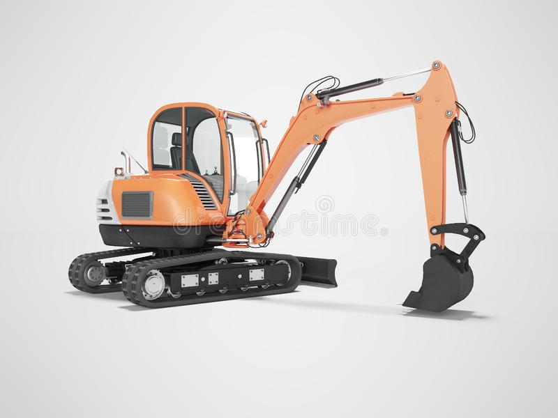 Orange mini excavator with hydraulic mechlopata with leveling bucket in motion rear view 3d render on gray background with shadow. Orange mini excavator with vector illustration