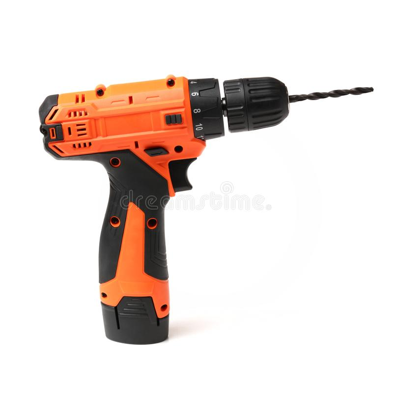 Orange mini Portable drill stock photo