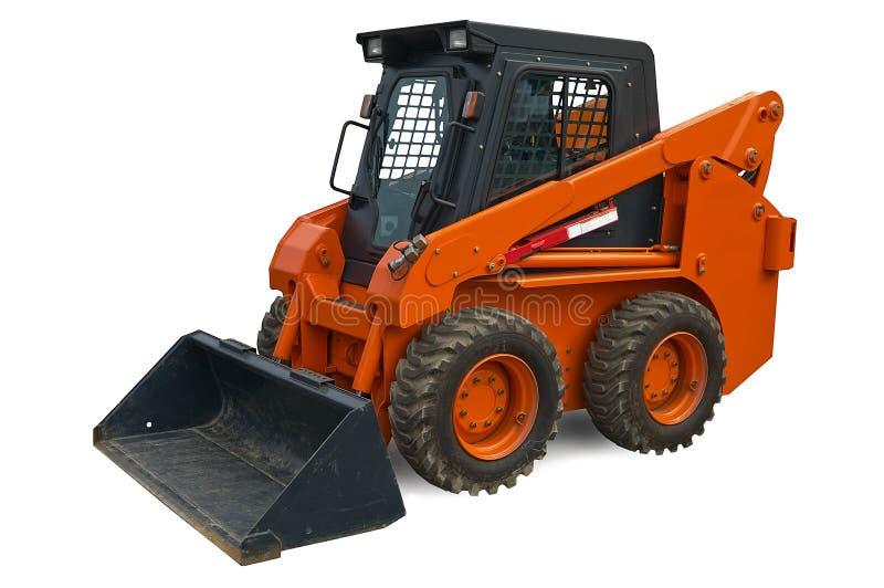 Orange mini wheel excavator stock image