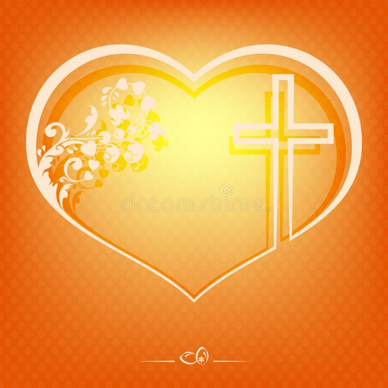 Orange modell med konturn av hjärta med prydnaden och korset vektor illustrationer