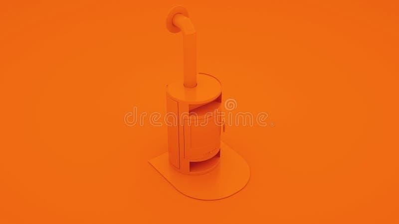 Orange moderner Kamin Abbildung 3D vektor abbildung