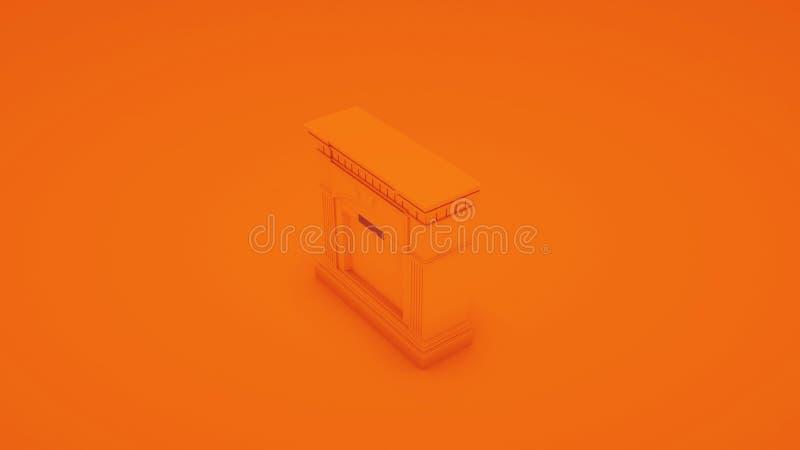 Orange moderner Kamin Abbildung 3D stock abbildung