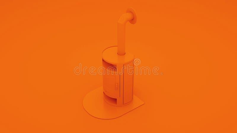 Orange moderner Kamin mit Kaminrohr Abbildung 3D stock abbildung