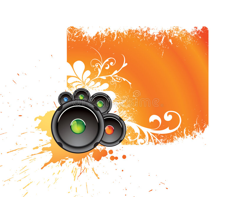 Orange musical banner vector illustration