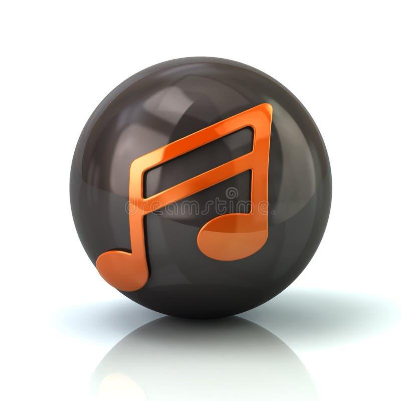 Orange musikanmärkningssymbol på svart glansig sfär royaltyfri illustrationer