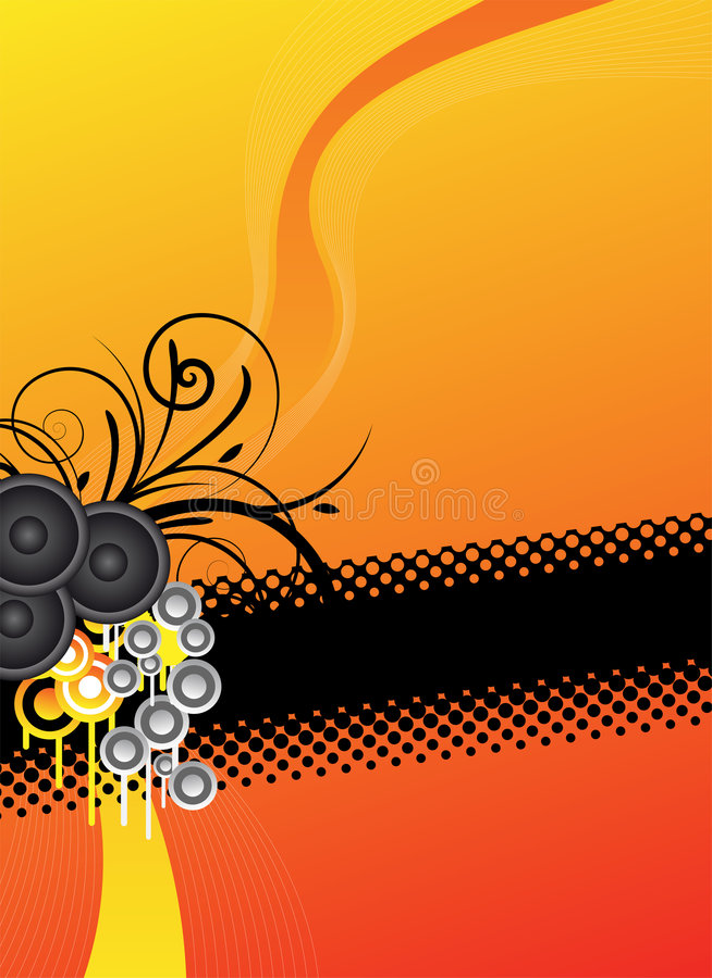 Orange Musikhintergrundauslegung lizenzfreie abbildung