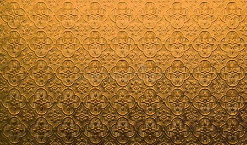 Orange Musterglas in der thail?ndischen Art des Hausfensters lizenzfreies stockfoto
