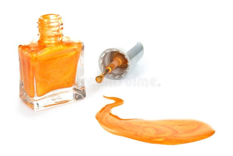 Orange Nagellack stockfotos