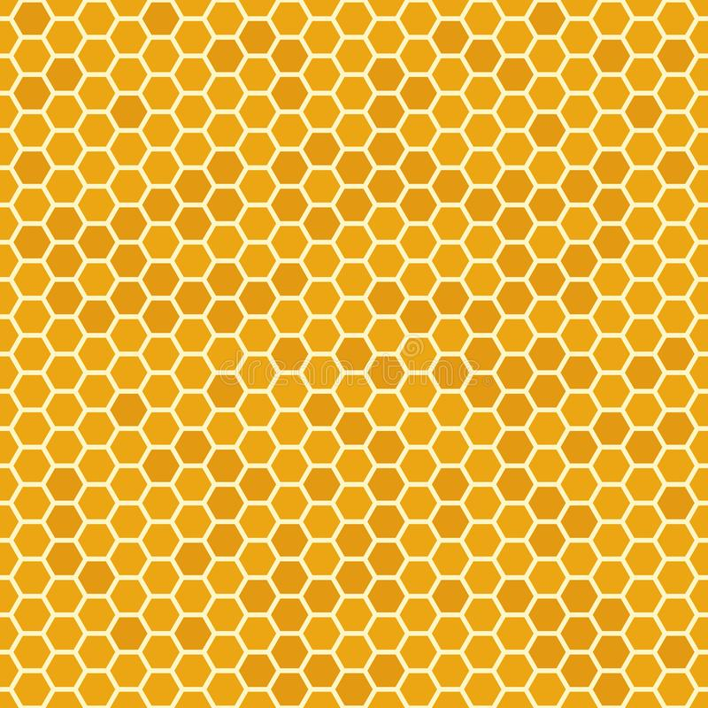 Orange nahtloser Honig kämmt Muster Bienenwabenbeschaffenheit, sechseckiger honeyed Kammvektorhintergrund lizenzfreie abbildung