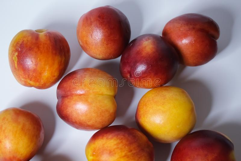Orange nectarines on a white background. Ripe orange nectarines isolated on a white background royalty free stock photo