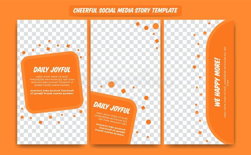 Orange nette glückliche Social Media-Geschichten-Entwurfsschablone für Artikel, Förderung, Blog, mit Textparagraphen und abstrakt vektor abbildung