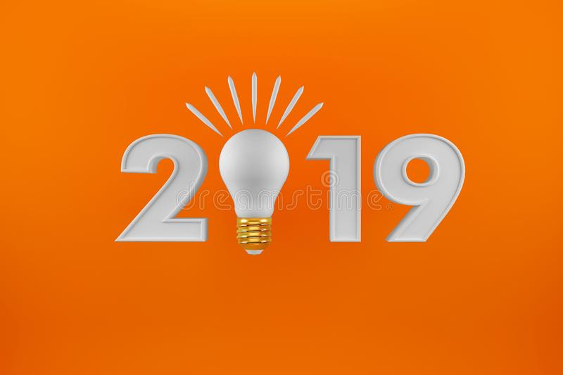 Orange New Year 2019 - 3D Rendered Image. Festival,. Orange 2019 on White Background, New Year 2019, 3D Illustration, Happy New Year 2019, Red 3D Numbers, New vector illustration