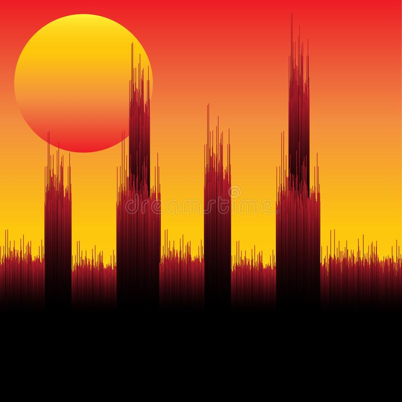 Night City Skyline. Modern Abstract Cityscape Background with brushed scratched style and fog effect. Beautiful red night sky vector illustration